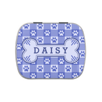 Dog Paw Print Gingham Cute Blue Personalized Bone Jelly Belly Tin