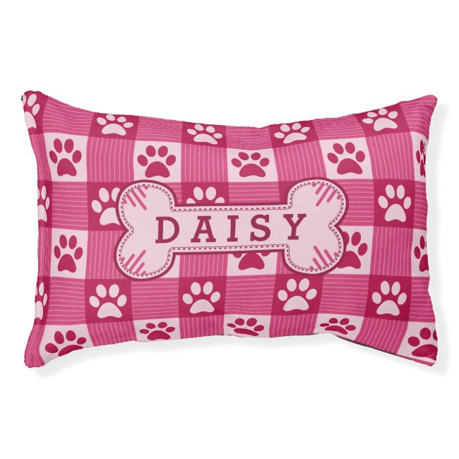 Dog Paw Print Gingham Cute Pink Personalized Bone Pet Bed