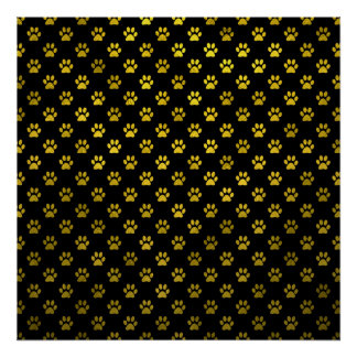 Dog Paw Print Gold Black Background Metallic Faux