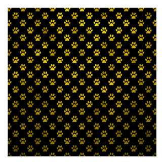 Dog Paw Print Gold Black Background Metallic Faux Poster