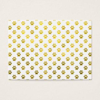Dog Paw Print Gold White Metallic Faux Foil Paws Business Card
