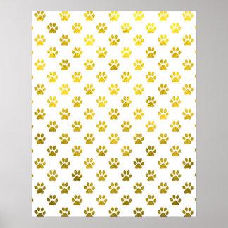 Dog Paw Print Gold White Metallic Faux Foil Paws