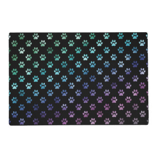 Dog Paw Print Green Blue Purple Rainbow Black Placemat