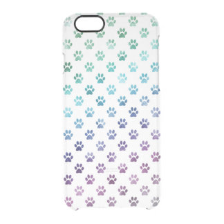 Dog Paw Print Green Blue Purple Rainbow White Clear iPhone 6/6S Case