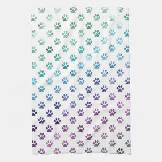 Dog Paw Print Green Blue Purple Rainbow White Towel