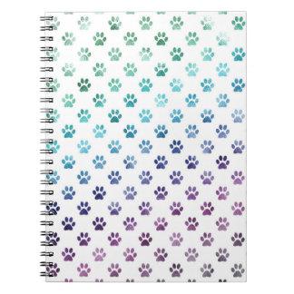 Dog Paw Print Green Blue Purple Rainbow White Notebook