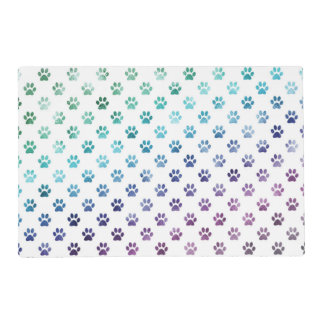 Dog Paw Print Green Blue Purple Rainbow White Placemat