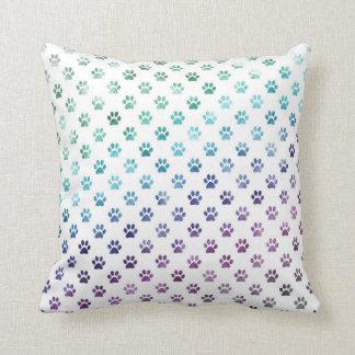 Dog Paw Print Green Blue Purple Rainbow White Throw Pillow