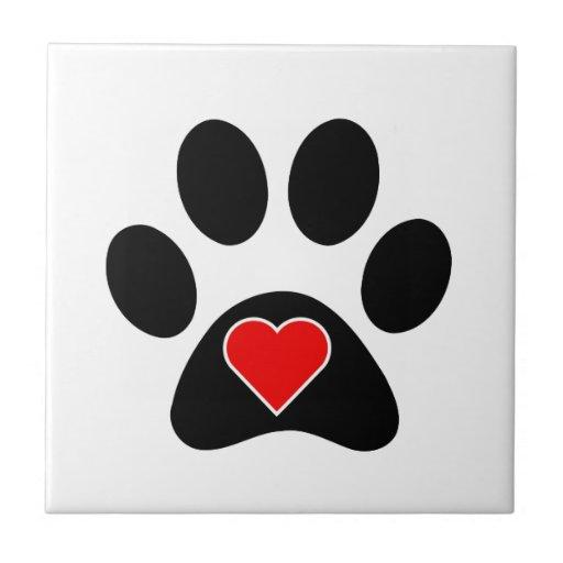 Dog Paw Print Heart Small Square Tile Zazzle