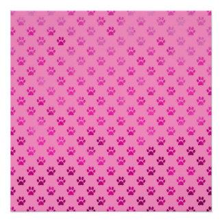 """Dog Paw Print """"Hot Pink"""" Pink Background Metallic"""