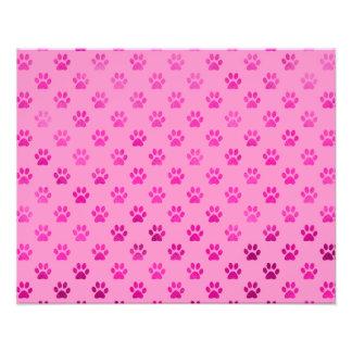 """Dog Paw Print """"Hot Pink"""" Pink Background Metallic Photo Print"""