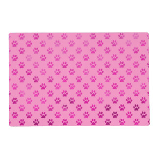 "Dog Paw Print ""Hot Pink"" Pink Background Metallic Placemat"