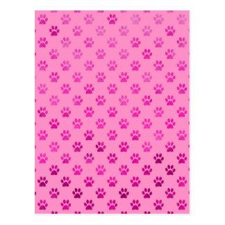 """Dog Paw Print """"Hot Pink"""" Pink Background Metallic Postcard"""