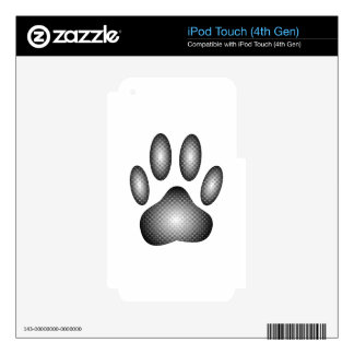 Dog Paw Print In Black and White Gradients iPod Touch 4G Skins