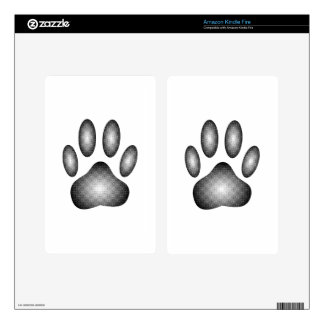 Dog Paw Print In Black and White Gradients Kindle Fire Skins
