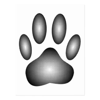 Dog Paw Print In Black and White Gradients Postcard