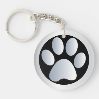 Dog paw print in silver & black, gift keychain
