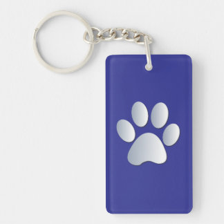 Dog paw print in silver & blue, gift rectangular acrylic key chain