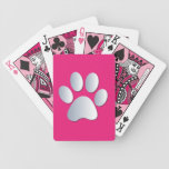 Dog paw print in silver & cerise hot pink, gift bicycle playing cards