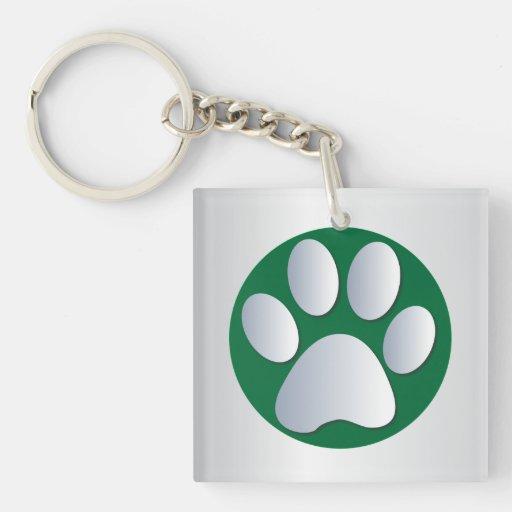 Dog paw print in silver & green, gift acrylic keychain