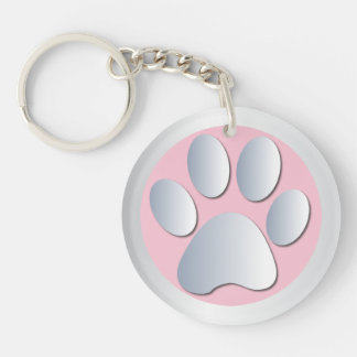 Dog paw print in silver & pink, gift round acrylic keychain