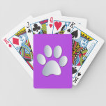 Dog paw print in silver & purple, gift deck of cards