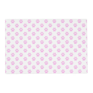 Dog Paw Print Light Pink White Background Placemat