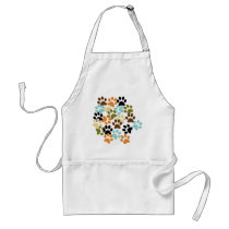 Dog paw print pattern adult apron