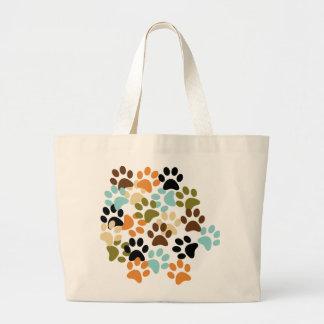 Dog paw print pattern large tote bag
