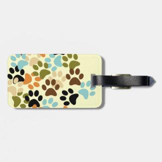 Dog paw print pattern travel bag tags
