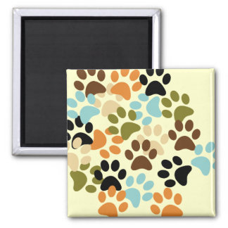 Dog paw print pattern magnets