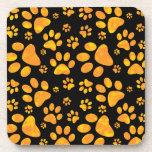 Dog Paw Print Pattern Orange Yellow Drink Coaster