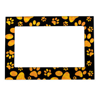 Dog Paw Print Pattern Orange Yellow Magnetic Picture Frame