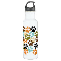 Dog paw print pattern water bottle