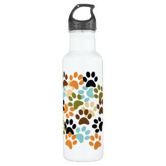 Dog paw print pattern water bottle