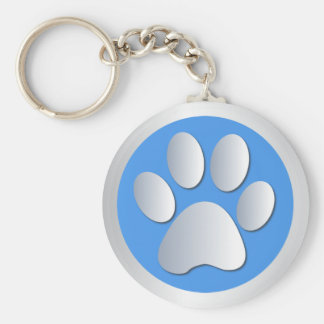Dog paw print pet silver and blue keychain