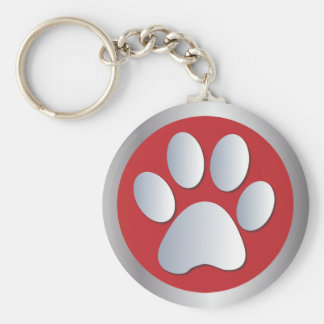 Dog paw print pet silver and red keychain