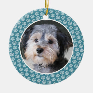 Dog Paw Print Photo Frame - single sided Ceramic Ornament