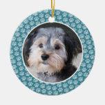 Dog Paw Print Photo Frame - single sided Double-Sided Ceramic Round Christmas Ornament