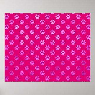 Dog Paw Print Purple Hot Pink Background
