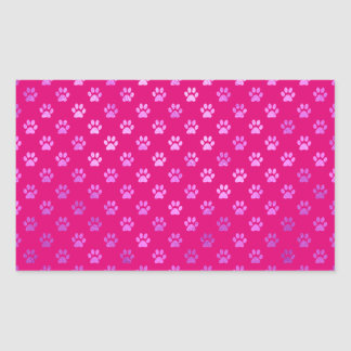 Dog Paw Print Purple Hot Pink Background Rectangular Sticker