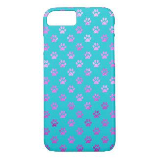 Dog Paw Print Purple Pink Aqua Teal Blue iPhone 7 Case