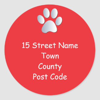 Dog paw print return address custom stickers