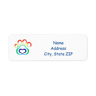 Dog Paw Print Return Address Label