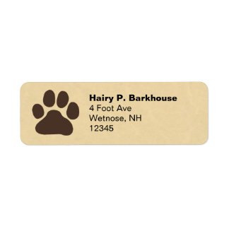 Dog Paw Print Return Address Labels