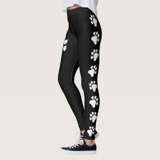 Dog Paw Print Silhouettes In Black And White Leggings