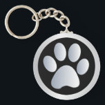 "Dog paw print  silver, black keychain, gift idea keychain<br><div class=""desc"">Beautiful black and silver pet dog or cat paw print keychain,  keyring.  great gift idea for dog lovers</div>"