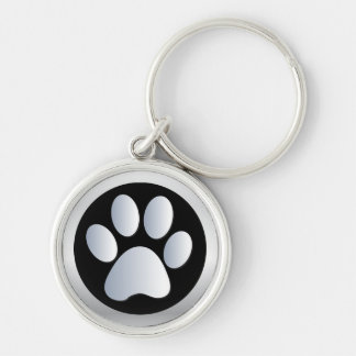 Dog paw print  silver, black keychain, gift idea Silver-Colored round keychain