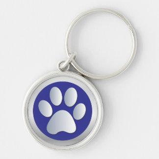Dog paw print  silver, blue keychain, gift idea