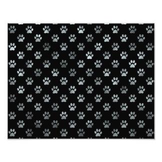 Dog Paw Print Silver Gray Black Background Photo Print